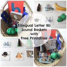 Bilingual letter B sound baskets with FREE printables in Spanish, English and Bilingual. Montessori inspired language activities. Early literacy. Toddler activities. Tot school