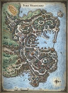 "rpgsandbox: ""Map of Port Nyanzaru from the D&D Tomb of Annihilation adventure. """