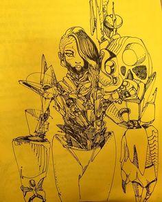 David Choe sketchy yellow art. Part Choebot, Choegal and Mangchi Heather Leather inspiration. davidchoe.com mangchi.com