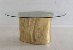 Modern Stump Dining Table Resin Base Cast From Real Tree Trunks Available in Gold and Silver, Bronze, Walnut, and White