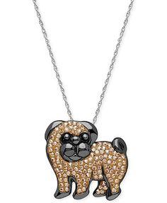 Kaleidoscope Swarovski Crystal Pug Pendant Necklace in Sterling Silver (1-1/8 ct. t.w.)