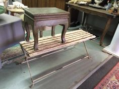 """Vintage Wood Stool, Bench Green Stool  17"""" Wide x 12"""" Deep x 16"""" High $40  Bench 13.5"""" Deep x44"""" Wide $145 Country Garden Antiques 147 Parkhouse  Dallas, TX 75207  Read our blog: http://countrygardenantique.blogspot.com/  Like us on Facebook: h"""