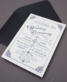 Ornate Vintage Type Wedding Invitation Set $29.00 1550-AA-v2