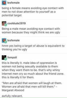 "^^For me this also parallels the ""Cotton Ceiling"" bullshit. A woman's sexual boundaries are hers; they are not up for negotiation, and they are undeserving of ridicule (otherwise known as coercion). A woman's refusal to fuck you is not oppression."
