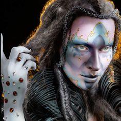 Creative jewel embellished male fantasy make-up look.  Illamasqua School of Make-up Art.