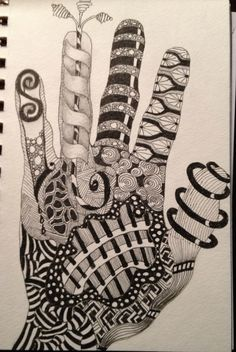 Zentangle - Love the idea of tracing my hand (use as a sketch book exercise to get them started on zantangles) Zentangle Drawings, Doodles Zentangles, Zentangle Patterns, Doodle Drawings, Doodle Art, Zantangle Art, Zen Art, Hand Kunst, Sketchbook Assignments