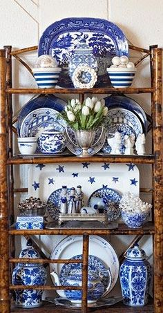 The blue and white pieces are arranged beautifully on the burnt bamboo etagere. I like the cornishware, the blue willow & the more formal ginger jars all mixed together. Decor, Blue Decor, White Porcelain, White Pottery, Blue Rooms, White Decor, Home Decor, Blue White Decor, Blue And White