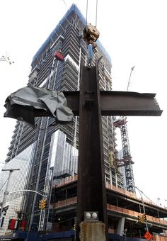 'Miracle': The intersecting steel beams were found in the rubble of buildings destroyed in the September 11 attacks on the World Trade Center