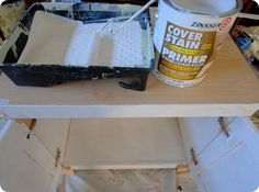 "How to paint laminate furniture - use Zinsser ""Cover Stain"" oil based primer for glossy surfaces - no sanding or curing needed"