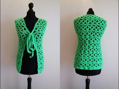 How to crochet green jacket bolero cardigan Chaleco para principiantes free tutorial pattern - YouTube