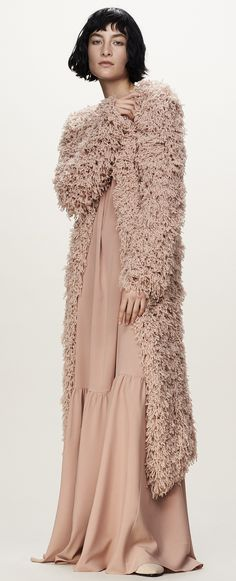 Fluffy knit coat in blush color. Ryan Roche - Fall 2016