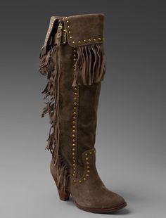 Jeffrey Campbell suede fringe boot