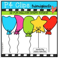 5 additional shapes to add to 2D FUN Balloon Shapes.2D FUN BALLOON SHAPESThis clip art set includes 12 images. There are 5 vibrant coloured images and 7 black and white images.If you like this set I'd love to have your feedback for my shop. I read every comment and greatly appreciate the time you take to give  a rating.
