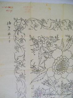 Arte: dibujo chino para mantón de principios del siglo XX (60x60cm) - Foto 2 - 45002495