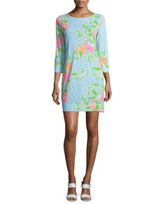 Marlowe+3/4-Sleeve+T-Shirt+Dress,+Pool+Blue+by+Lilly+Pulitzer+at+Neiman+Marcus.
