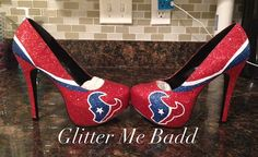 Battle red Texans inspired Glitter Heel