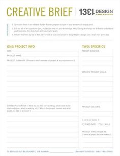 "My Creative Process Series ""The Meeting"" post. Creative Brief sample. 1331design.com."