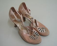 Peach satin and faille, T-strap shoeswith rhinestone buckle, cutouts on vamp with silver leather trim. Manufacturer: Wilbars DeLuxe. 1930's