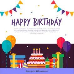 Birthday decoration background in flat design