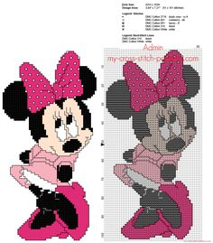 """diy_crafts- """"Minnie Mouse with pink dress free back stitch Disney cross stitch pattern - free cross stitch patterns simple unique alphabets baby Cross Stitch Bookmarks, Cross Stitch Baby, Cross Stitch Charts, Disney Cross Stitch Patterns, Cross Stitch Designs, Cross Stitching, Cross Stitch Embroidery, Embroidery Hoops, Embroidery Fabric"""