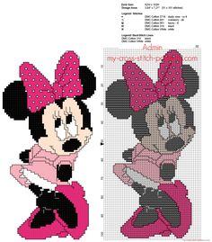Minnie Mouse with pink dress free back stitch Disney cross stitch pattern
