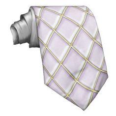 Lilac Diamond Pattern Mardi Gras Tie