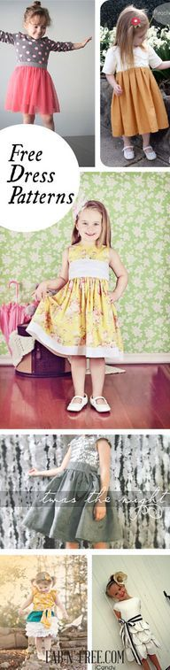 15 Free Little Girl dress patterns