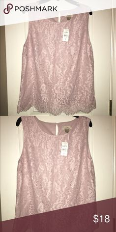 Beautiful loft lace tank top with tags! This champagne rose tank is classy and beautiful! Fits small to medium. Perfect for a night out or for work! Brand new. Never worn. Tags on LOFT Tops Tank Tops