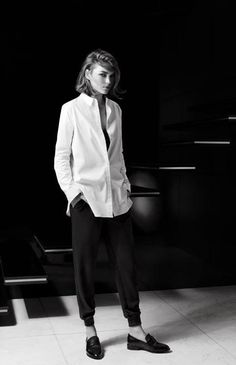 Minimal + Classic:AW2014. Black pants, white shirt, loafers.
