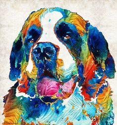 Colorful Saint Bernard Dog By Sharon Cummings by Sharon Cummings