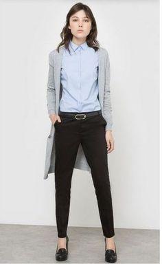 Light blue shirt+black pants+black pumps+grey cardigan. Spring Business Casual Outfit 2017 #pumpsoutfit