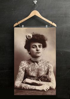 Lydia the Tattooed Lady Poster, Feminist Art, Framed Vintage Decor, Badass Woman, World Traveler, Woman Poster, Feminist Decor
