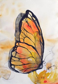 Yellow butterfly watercolor small painting  by AlisaAdamsoneArt
