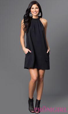 Image of short open-shoulder high-neck shift dress Detail Image 1 Simple Dresses, Elegant Dresses, Pretty Dresses, Beautiful Dresses, Casual Dresses, Short Dresses, Prom Dresses, Dress Outfits, Fashion Dresses