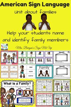 American Sign Language Unit designed to help deaf and hard of hearing students identify and name family members. Sign Language Games, Sign Language For Kids, Sign Language Phrases, American Sign Language, Language Arts, Classroom Signs, Classroom Ideas, Deaf Culture, Speech Therapy Activities
