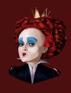 Queen of hearts, Tim Burton, Alice in wonderland fan art from www.facebook.com/memories enclosed