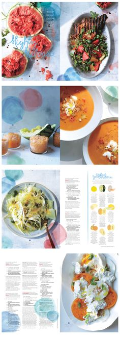 Mighty Melons - Bon Appetit - Alaina Sullivan Food Magazine Layout, Magazine Layout Design, Book Design Layout, Print Layout, Food Graphic Design, Food Design, Editorial Layout, Editorial Design, Best Design Books