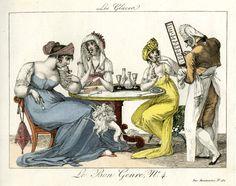 Les glaces; satirical print in Le Bon Genre; 1801