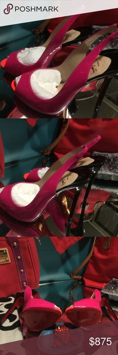 Christian Louboutin stilettos Very vibrant hot pink sling back with vibrant orangish/coral peep toe size 39 1/2 with black stiletto heels that are 5 1/4 inch high. New in box with original tissue paper never worn. Very HOTT item these will go fast. Christian Louboutin Shoes Heels