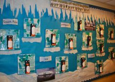 A super Penguin classroom display photo contribution. Great ideas for your classroom! School Displays, Classroom Displays, Classroom Themes, Eyfs Activities, Winter Activities, Winter Thema, Penguins And Polar Bears, Baby Penguins, Artic Animals