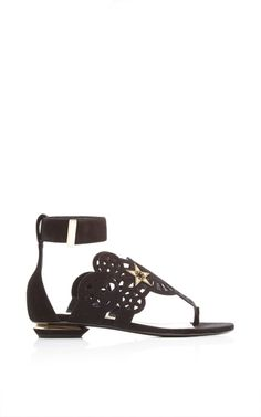 Kaleidoscope Noir Embroidery Flat Ankle Strap Sandal by Nicholas Kirkwood for Preorder on Moda Operandi