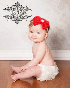20% Off Entire Order...Large Red Rosette Chiffon Pearl Rhinestone Bow Headband From Kemaily