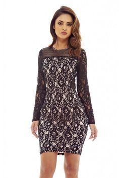 AX Paris Womens Black Contrast Lace Midi Dress Glamorous Stylish Fashion