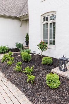 Mulch Yard, Retaining Wall Bricks, Landscape Design, Garden Design, Arborvitae Tree, Black Mulch, Home Exterior Makeover, Plastic Planter, Landscape Designs