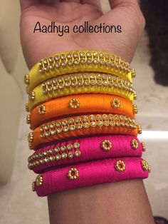 Every piece of jewelry tells us a story..and those beautiful bangles on your beautiful hands plays a greatest role in your story..we provide a large collection of bangles that will suits you and will make your story as unique as you..we will customize the colour by your opinion..AADHYA COLLECTIONS..contact us:- Sruthi.rrk@gmail.com