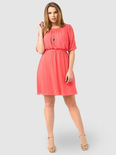 Blouson Dress In Coral