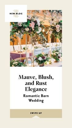 Romantic and elegant Barn Wedding - yes barn weddings can be elegant not just rustic. With a sophisticated color palette, and a cozy floor-plan, a barn wedding can look like a movie set not hoedown. The wedding tables were covered in oatmeal velvet linens and topped with a mix of both tall and short floral centerpieces. The mauve, blush and rust color palette in the floral design, wedding decor, flower arrangements, outdoor wedding decor brought the elegant romantic touch. Wedding Reception Flowers, Wedding Reception Centerpieces, Outdoor Wedding Decorations, Wedding Tables, Floral Centerpieces, Floral Wedding, Flower Arrangements, Winter Wedding Colors, Summer Wedding Colors