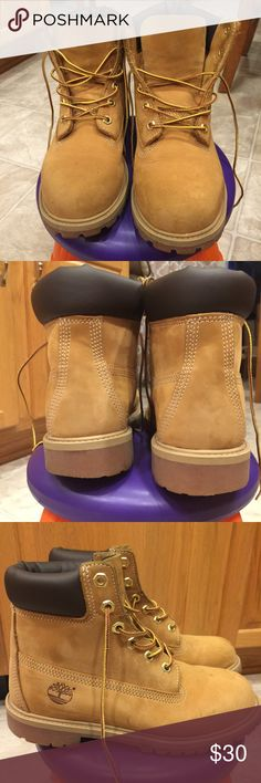 Size 5.5 boys butter double soled timbs I had another pair for sale on here that my son wore and my daughter wore these, and has outgrown them. They're a 5.5 and the pics are from 5 min ago, so the condition is as pictured. Thanks!! Timberland Shoes Boots