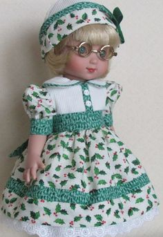 "For Ann Estelle and Her 10"" Friends, Happy ""Holly-days"" Dress and Hat"