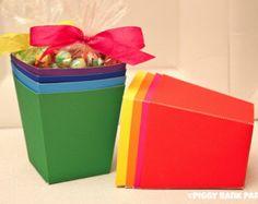 Solid Treat Favor Box Set : DIY Printable Rainbow Snack Box PDF - Instant Download